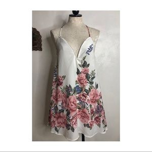 Floral print vintage inspired sun dress thin strap